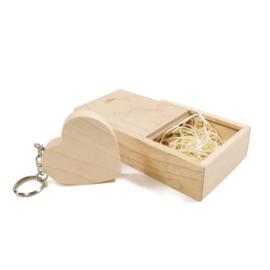 USB stick Houten hart in luxe box