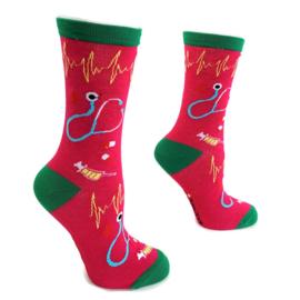 Happy2Care verpleegkundige sokken Pink Heart Pulse