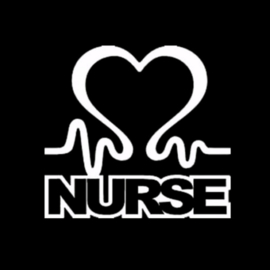 STICKER NURSE HART ZILVERWIT