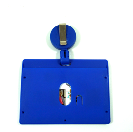 Badge/ID holder + zipper Blauw