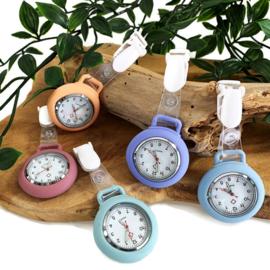 Horloge met PU clip - Pastel vleugje lila