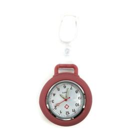 Horloge met PU clip - Pastel Oudroze