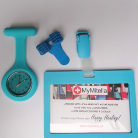 SETJE CLIP + ZORGKLOKJE + BADGEHOUDER AQUA/LIGHT BLUE