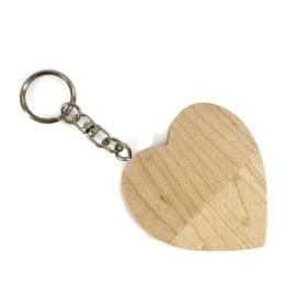 Houten USB stick hart (kleur licht)