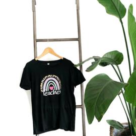 T-shirt Zwart - meester - juf - docent Rainbow