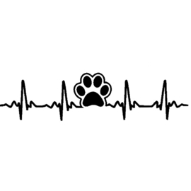 STICKER HEART RATE PAW-  ZWART