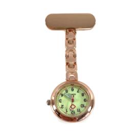 Schakel horloge - zorg - Glow in the dark - Rosé Goud