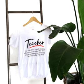 T-shirt Wit - meester - juf - docent - Definitie