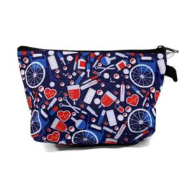Tasje voor tools & cosmetica - MEDISCHE PRINT - donkerblauw