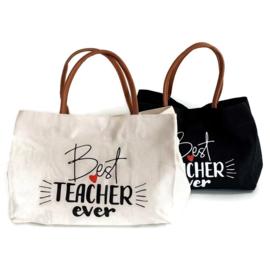 Canvas shopper - schoudertas - Meester/ juf / docent Naturel
