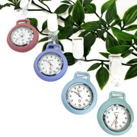 Horloge met PU clip - Pastel Lila