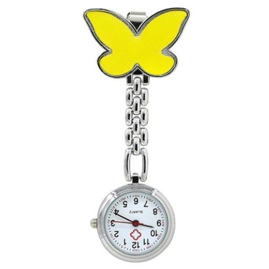 Verpleegstershorloge geel vlinder metaal