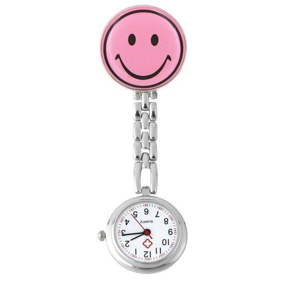 Verpleegstershorloge metal smile licht roze