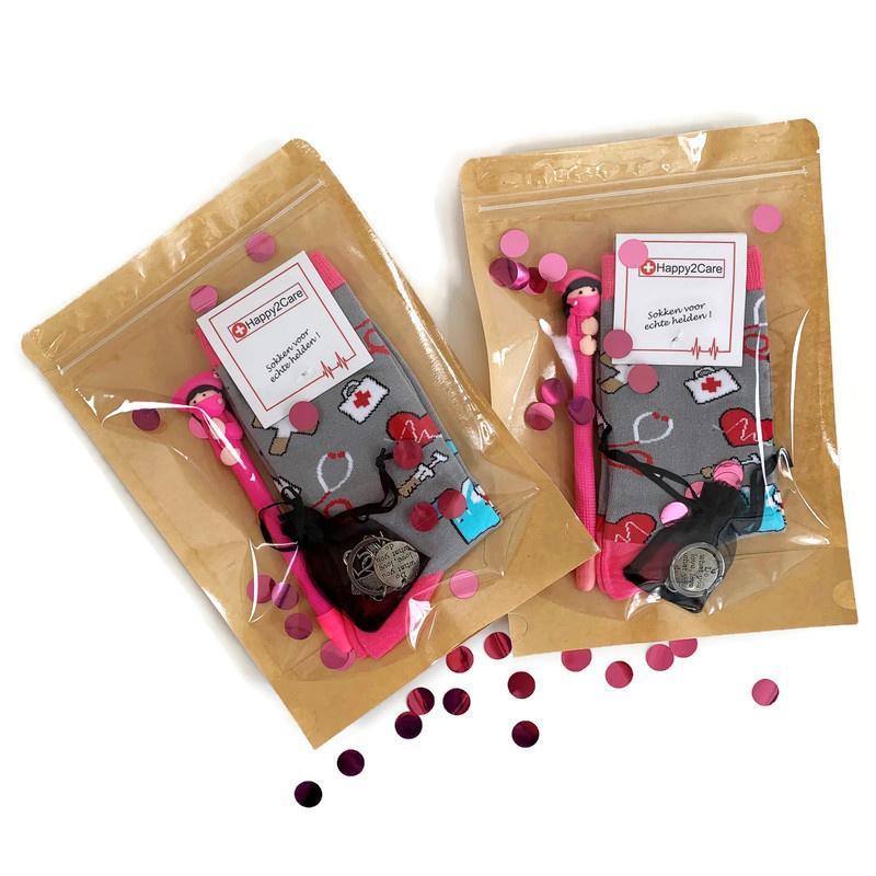 Cadeauset zorgheld op sokken- Roze/Grijs