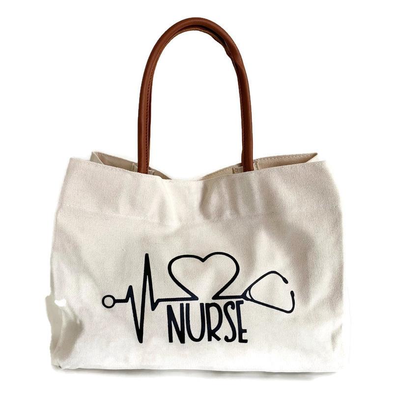 Canvas Schoudertas Verpleegkundige  - shopper Naturel