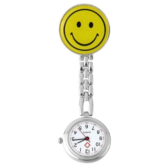 Verpleegstershorloge metal smile geel
