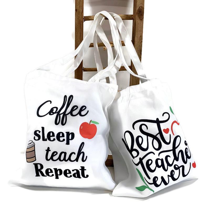 Canvas tas - Meester Juf - Teaching & Coffee