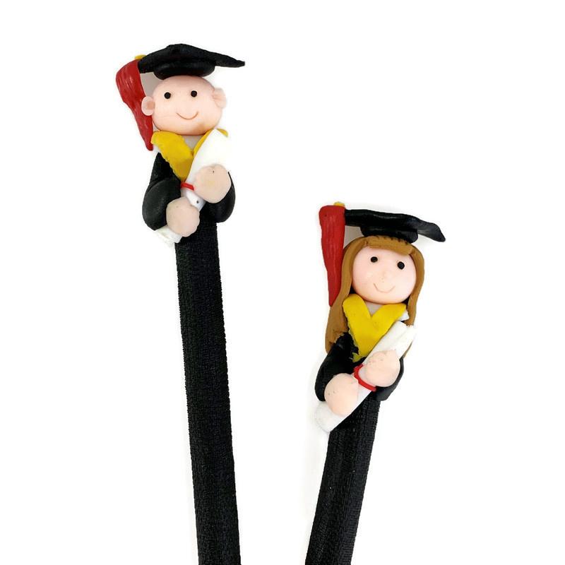 Grappige figuurpen voor diplomering en afstuderen dame - zwart