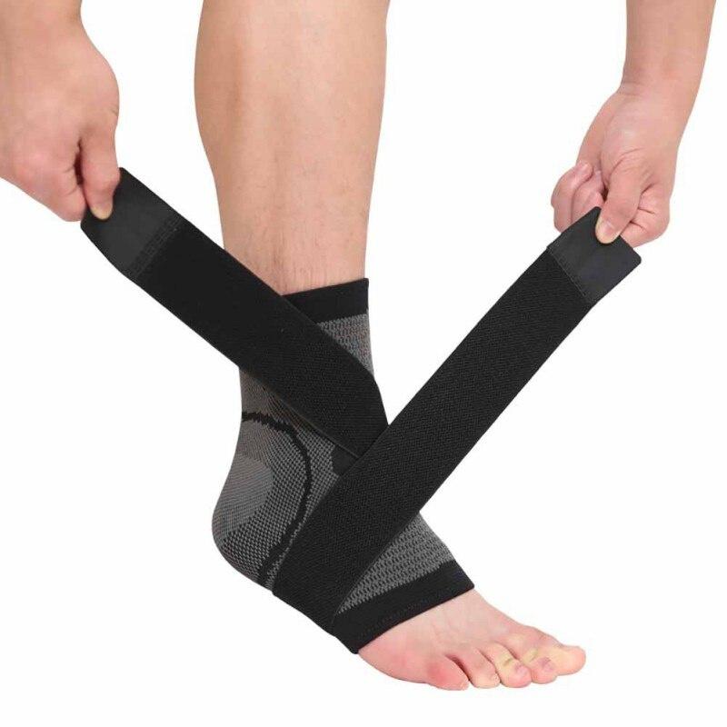 Elastische enkelbandage sportbrace grijs/zwart