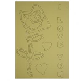 Kleurplaat roos i love you hartjes