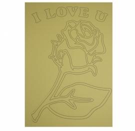Kleurplaat roos i love you