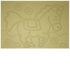 Kleurplaat paard met bloemen