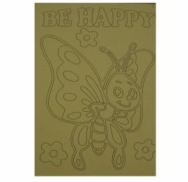 Kleurplaat vlinder be happy