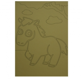 Kleurplaat paard met wolken