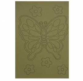 Kleurplaat vlinder met bloemen