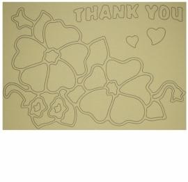 Kleurplaat bloemen thank you 2