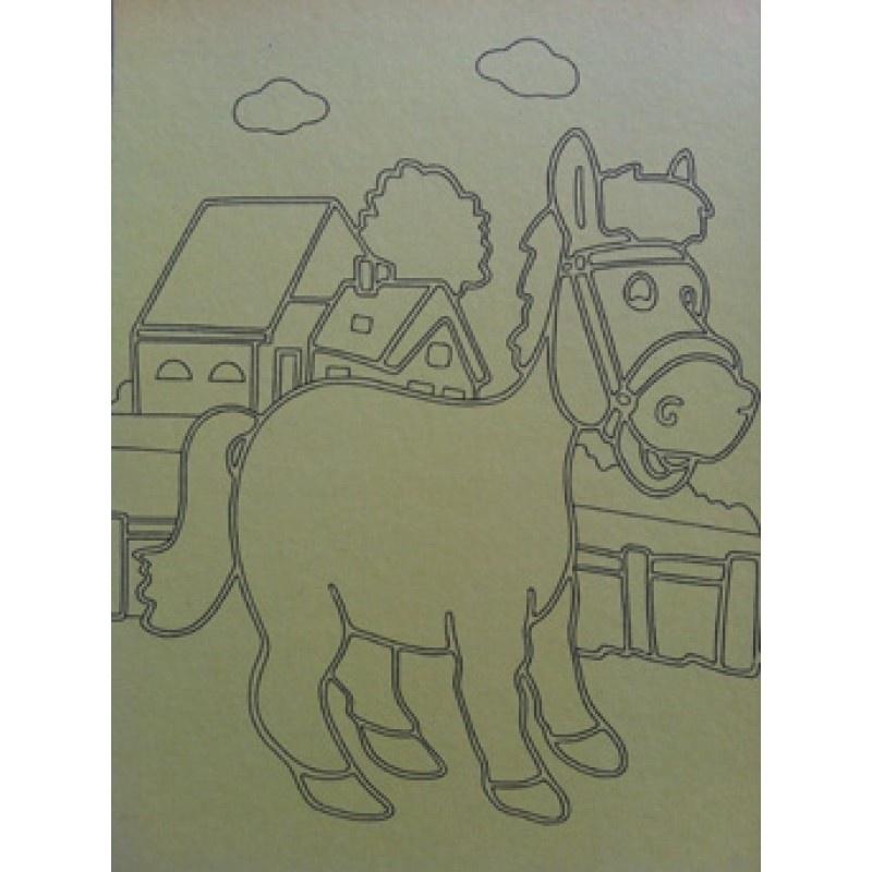 Kleurplaat paard met boerderij
