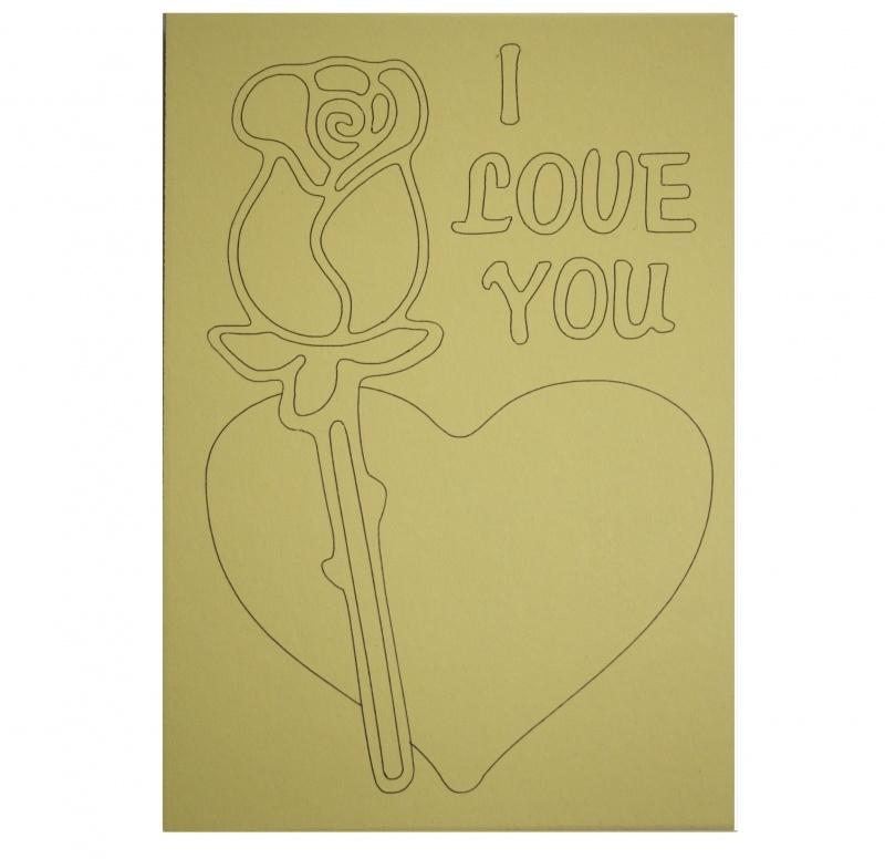 Kleurplaat roos en hart i love you