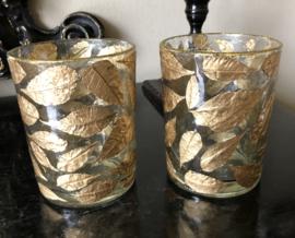 2 stuks Boho Glas Theelichthouders Gouden Bladeren 10(b) x 12,5(h) cm