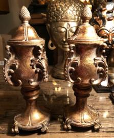 Hoge Pot met deksel Goud 11(b) x 33(h)cm