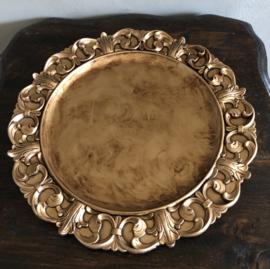 Decoratie bord, kunststof, Goudkleur 33(b)cm