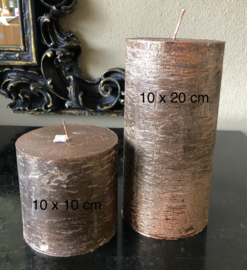 Luxe stompkaars, koperkleur, 10x10cm ca. 110 branduren