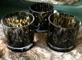 Set van 3 Cheeta Theelicht houders Bruin
