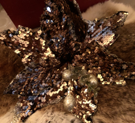 Kerstbloem Bronce Glitter ca. 25(b)cm*