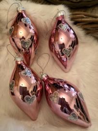 Roze Bal met hartjes 15(h)cm Glas*