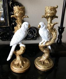 2 Kandelaren Goud met witte Vogel 25,5 (h) cm