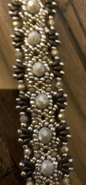 Luxe Armband Grijs / Zilver / Bruin Handgemaakt