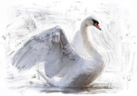 White Swan - Mint by Michelle decoupage papier REVERSED-A3
