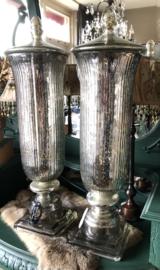 2 zilveren Potten Glas 15(b)x 65(h)cm Alleen ophalen
