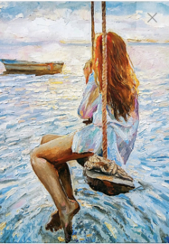 Girl on a swing - Mint by Michelle Decoupage papier-A3