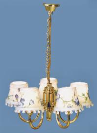 Hanglamp Crème bloemen 5-lamps 12 volt