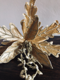 *Kerstbloem Lichtgoud Velours met glitterslinger ca. 25(b)cm