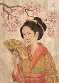 Geisha - Mint by Michelle decoupage papier- A3