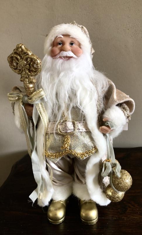 Kerstman  Wit/ Goud/Beige 31(h)cm*