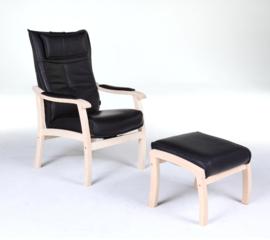 Senioren fauteuil Nordic, uit Scandinavië,  model Tienhoven met verstelbare rug en voetenbankje
