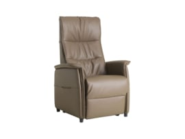 Sta op fauteuil model Amsterdam met 2 motors,  zeer comfortabel in zacht rundleder kleur Taupe, snel leverbaar -